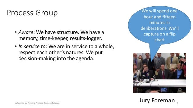 Process Group • Aware: We have structure. We have a memory, time-keeper, results-logger. • In service to: We are in servic...