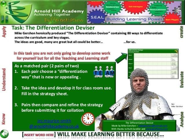 "Task: The Differentiation Deviser Mike Gershon heroically produced ""The Differentiation Deviser"" containing 80 ways to dif..."