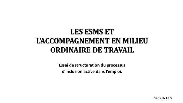 LES ESMS ET L'ACCOMPAGNEMENT EN MILIEU ORDINAIRE DE TRAVAIL Essai de structuration du processus d'inclusion active dans l'...