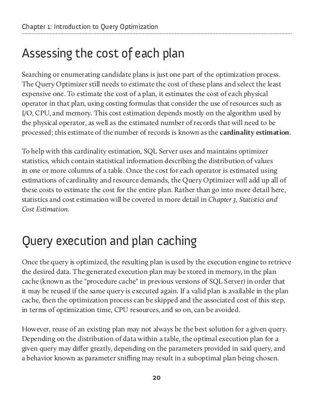 introduction to query optimization 2008-01-05 introduction to query processing and optimization page 4 of 11 4 minimizes the number of blocks that have to be readquery metrics: cost the execution time of a query depends on the resources needed to perform the needed.