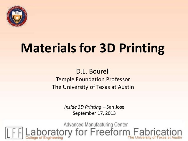 Materials for 3D Printing D.L. Bourell Temple Foundation Professor The University of Texas at Austin Inside 3D Printing – ...