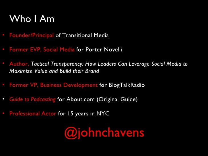 <ul><ul><li>Who I Am </li></ul></ul><ul><ul><li>Founder/Principal  of Transitional Media </li></ul></ul><ul><ul><li>Former...