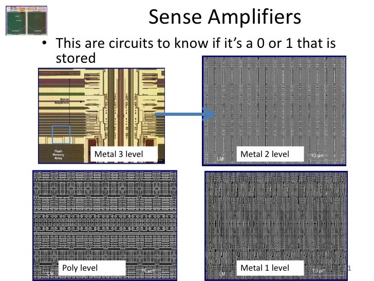 Sense Amplifiers • This are circuits to know if it's a 0 or 1 that is   stored                Metal 3 level            Met...