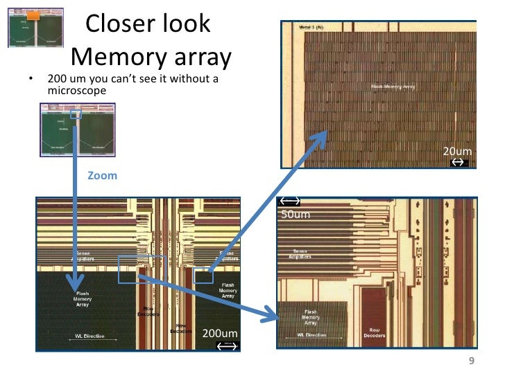 Closer look         Memory array •   200 um you can't see it without a     microscope                                     ...