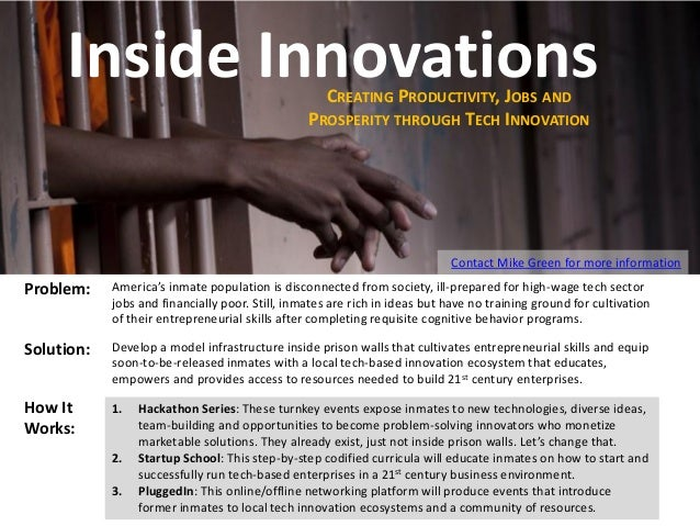 Inside Innovations CREATING PRODUCTIVITY, JOBS AND PROSPERITY THROUGH TECH INNOVATION  Contact Mike Green for more informa...