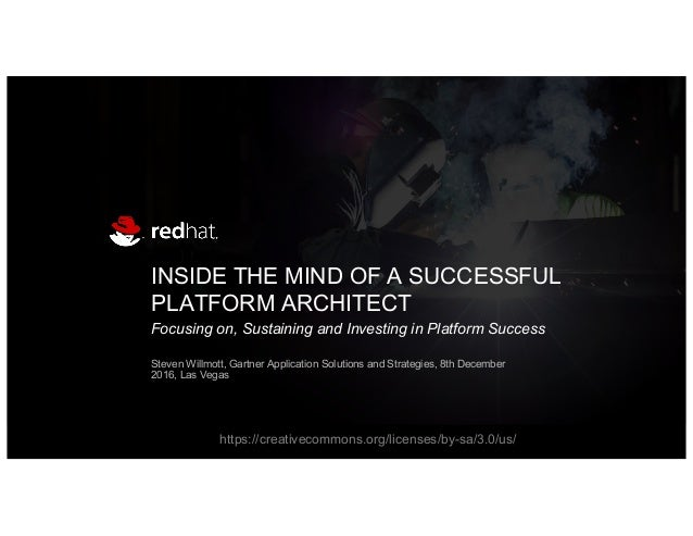 INSIDE THE MIND OF A SUCCESSFUL PLATFORM ARCHITECT Focusing on, Sustaining and Investing in Platform Success Steven Willmo...