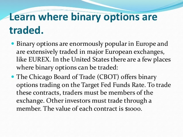 List of regulated binary options broker