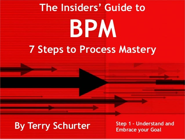 The Insiders' Guide toBPM7 Steps to Process MasteryBy Terry Schurter Step 1 – Understand andEmbrace your Goal