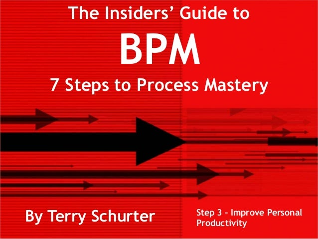 The Insiders' Guide toBPM7 Steps to Process MasteryBy Terry Schurter Step 3 – Improve PersonalProductivity