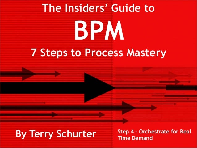 The Insiders' Guide toBPM7 Steps to Process MasteryBy Terry Schurter Step 4 – Orchestrate for RealTime Demand