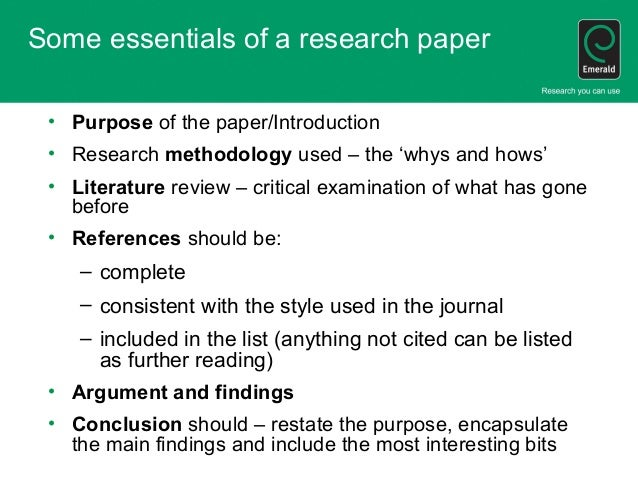 purpose section of a research paper