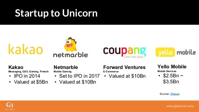 Startup to Unicorn www.g3partners.asia Source: Platum Kakao Messaging, O2O, Gaming, Fintech • IPO in 2014 • Valued at $5Bn...