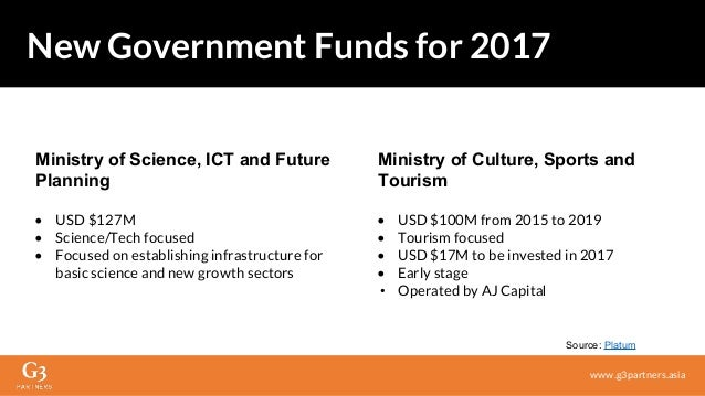 Ministry of Science, ICT and Future Planning • USD $127M • Science/Tech focused • Focused on establishing infrastructure f...