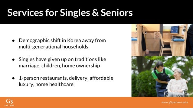 www.g3partners.asia Services for Singles & Seniors ● Demographic shift in Korea away from multi-generational households ● ...