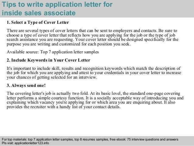 Inside sales associate application letter