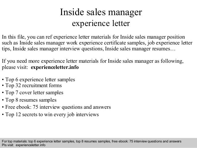 Inside Sales Manager Experience Letter In This File, You Can Ref Experience  Letter Materials For ...  Inside Sales Resume