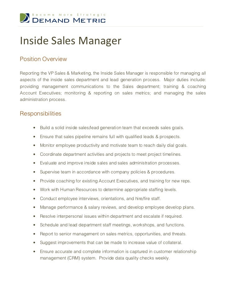 inside sales manager job description