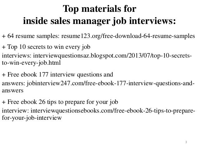 inside sales manager resumes