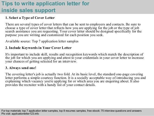 Inside sales support application letter