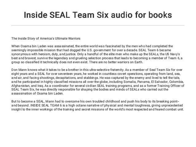 Inside SEAL Team Six audio for books