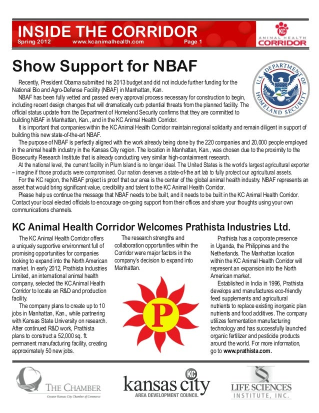 INSIDE THE CORRIDOR  Spring 2012          	     www.kcanimalhealth.com		                             Page 1Show Support fo...