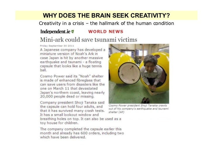 WHY DOES THE BRAIN SEEK CREATIVITY?Creativity in a crisis – the hallmark of the human condition