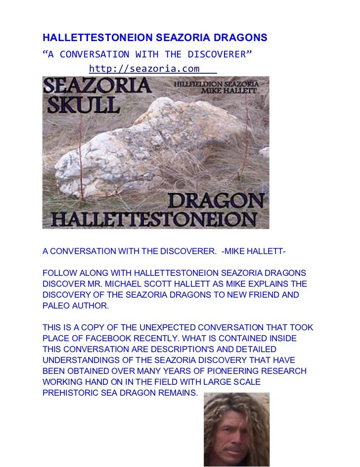 "HALLETTESTONEION SEAZORIA DRAGONS""A CONVERSATION WITH THE DISCOVERER""        http://seazoria.comA CONVERSATION WITH THE DI..."
