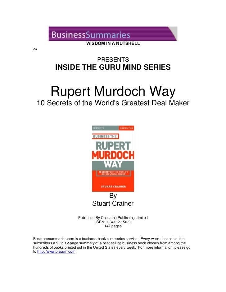 WISDOM IN A NUTSHELLzx                                      PRESENTS             INSIDE THE GURU MIND SERIES          Rupe...