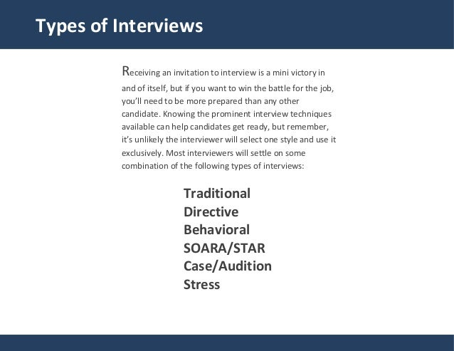 9 traditional types of interviews - Employer Interview Tips Techniques Guide