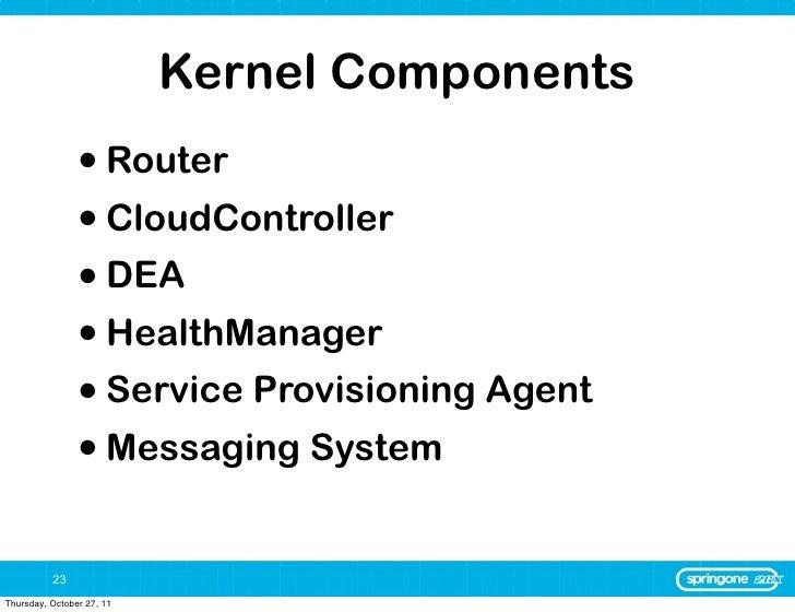 Kernel Components                • Router                • CloudController                • DEA                • HealthMan...