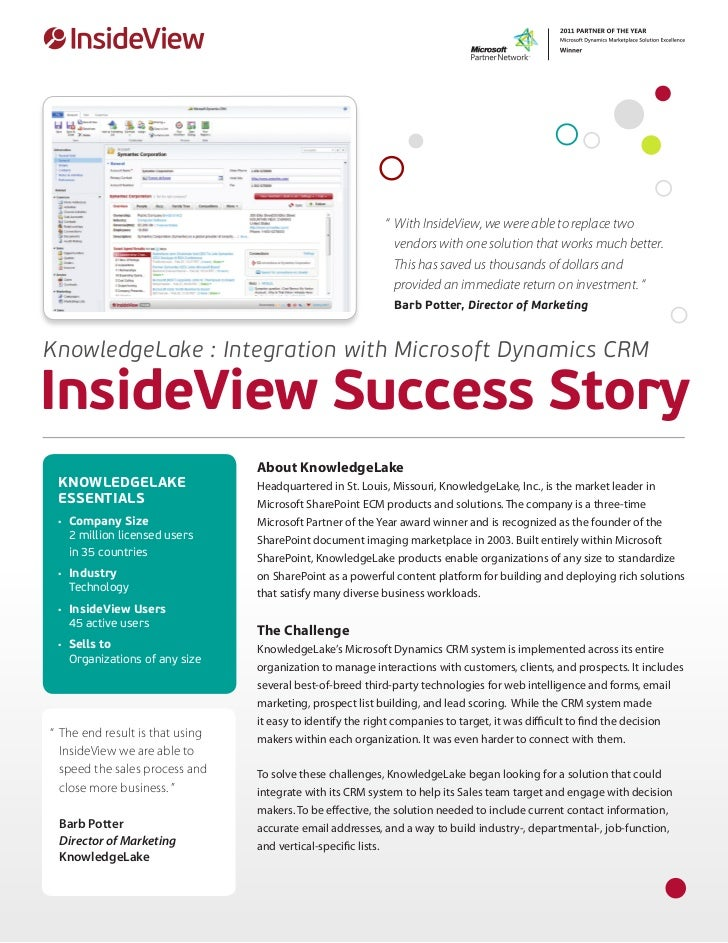 """ 	With InsideView, we were able to replace two                                                            	 vendors with ..."