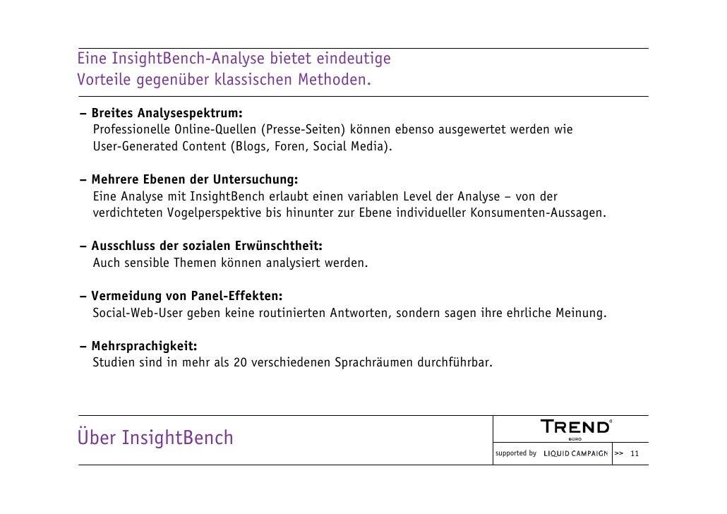 Eine InsightBench-Analyse bietet eindeutige Vorteile gegenüber klassischen Methoden. – Breites Analysespektrum:   Professi...