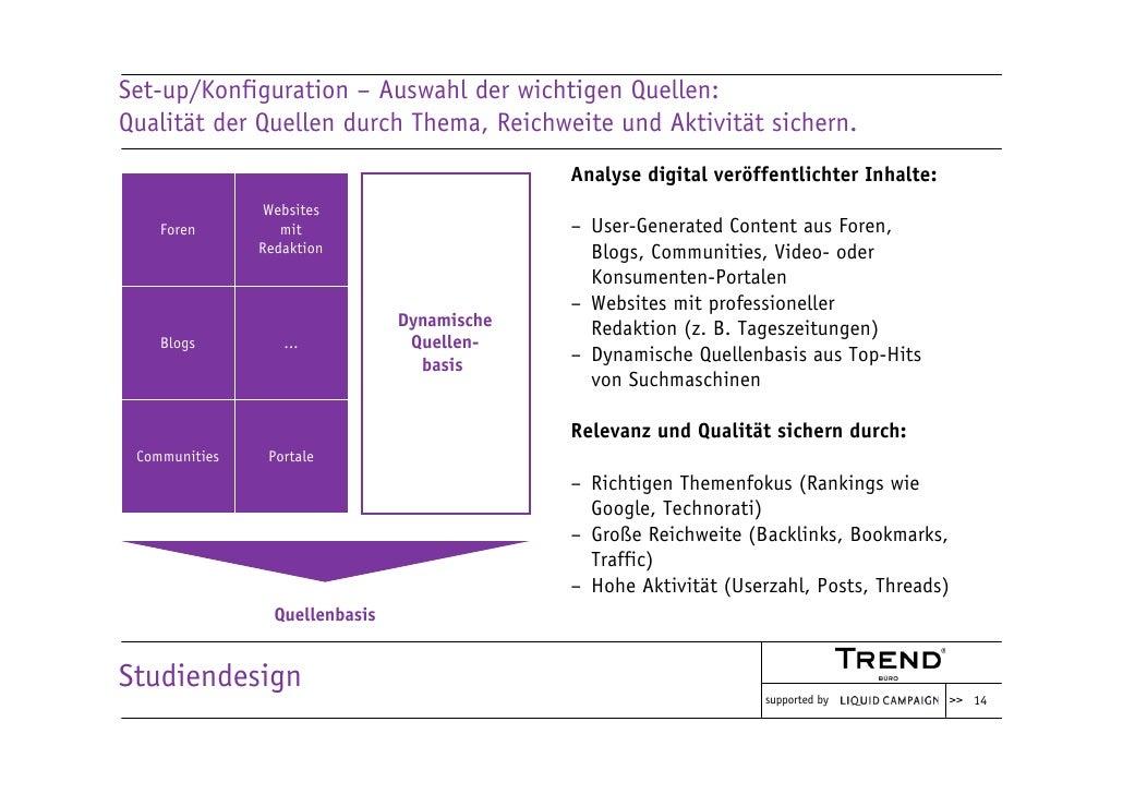 Set-up/Konfiguration – Auswahl der wichtigen Quellen: Qualität der Quellen durch Thema, Reichweite und Aktivität sichern. ...