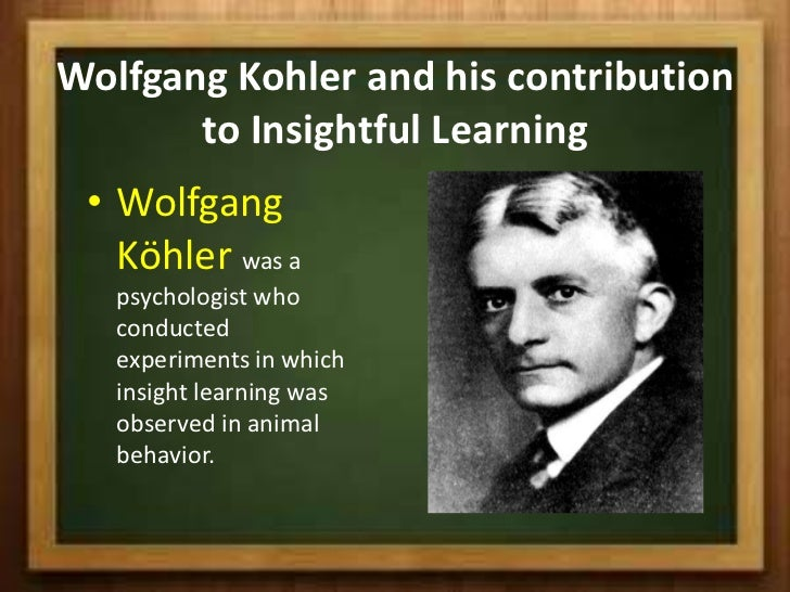 an overview of wolfgang kohler and his contributions to learning Experiment on the theory of learning by insight on champasies  wolfgang  köhler contribution to insight learning wolfgang köhler  a sudden revelation  or abrupt awareness bringing seemingly chaotic data into summary as per  epiphanies.
