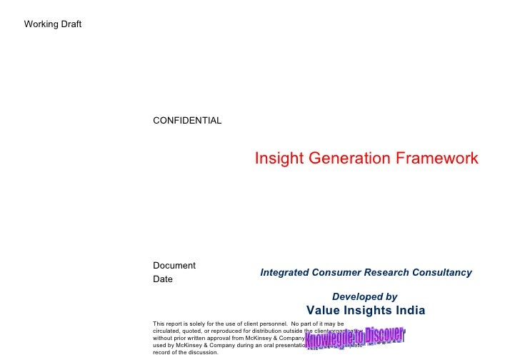 Insight Generation Framework Integrated Consumer Research Consultancy Developed by  Value Insights India Knowlegde to Disc...