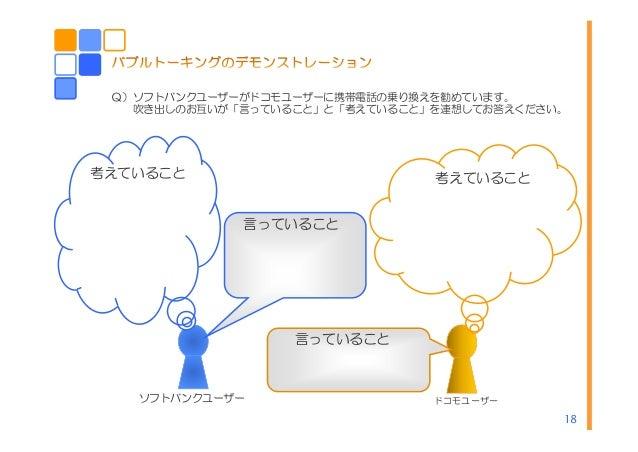 18 Q)ソフトバンクユーザーがドコモユーザーに携帯電話の乗り換えを勧めています。 吹き出しのお互いが「言っていること」と「考えていること」を連想してお答えください。 ソフトバンクユーザー ドコモユーザー 言っていること 言っていること 考えて...