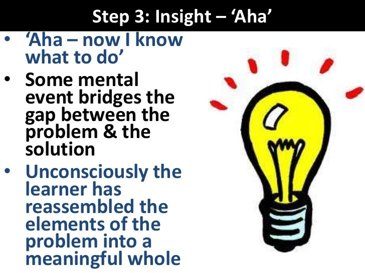Step 3: Insight – 'Aha'• 'Aha – now I know  what to do'• Some mental  event bridges the  gap between the  problem & the  s...