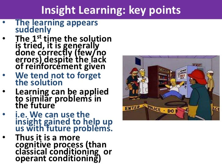 Insight Learning: key points•   The learning appears    suddenly•   The 1st time the solution    is tried, it is generally...