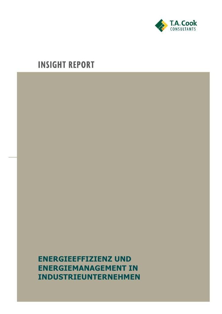ENERGIEEFFIZIENZ UNDENERGIEMANAGEMENT ININDUSTRIEUNTERNEHMEN