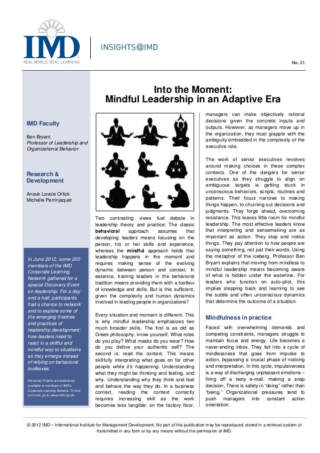 © 2012 IMD – International Institute for Management Development. No part of this publication may be reproduced, stored in ...