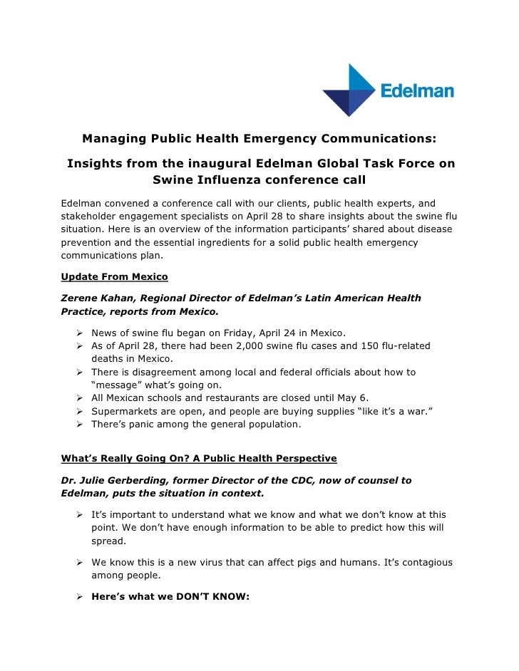 Managing Public Health Emergency Communications:   Insights from the inaugural Edelman Global Task Force on               ...
