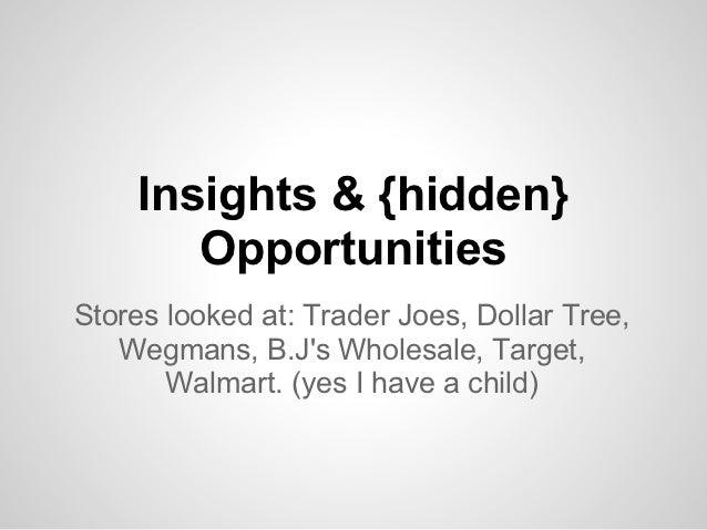 Insights & {hidden}       OpportunitiesStores looked at: Trader Joes, Dollar Tree,   Wegmans, B.Js Wholesale, Target,     ...