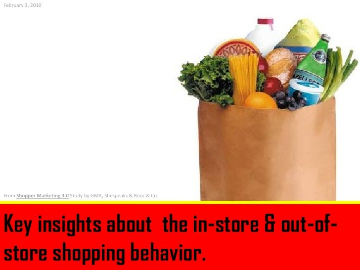 February 3, 2010     From Shopper Marketing 3.0 Study by GMA, Shespeaks & Booz & Co.     Key insights about the in-store &...
