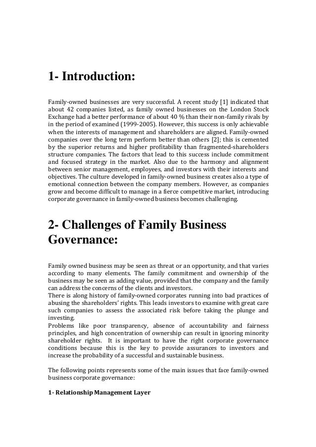 1- Introduction:  Family-ownedbusinessesareverysuccessful.Arecentstudy[1]indicatedthat about 42 companies l...