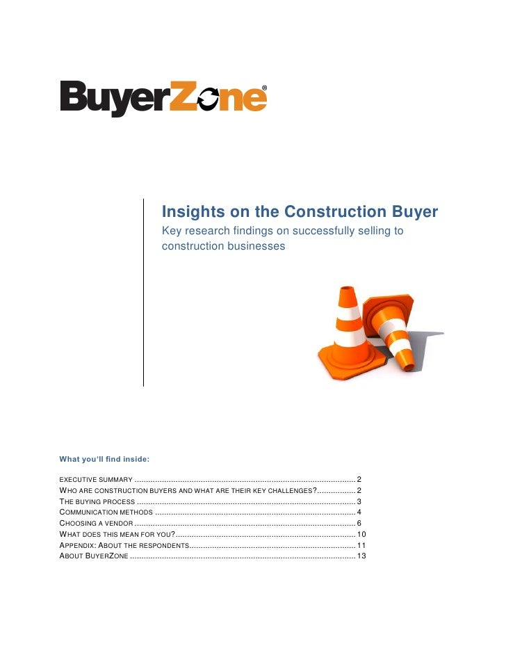 Insights on the Construction Buyer                                        Key research findings on successfully selling to...