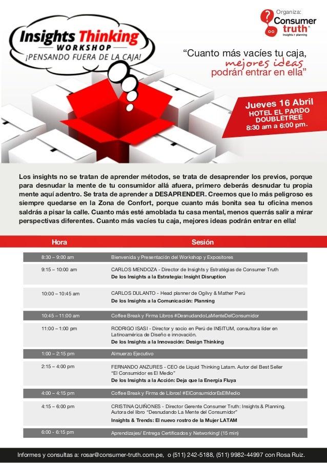 SesiónHora 9:15 – 10:00 am 11:00 – 1:00 pm 8:30 – 9:00 am Bienvenida y Presentación del Workshop y Expositores 1:00 – 2:15...