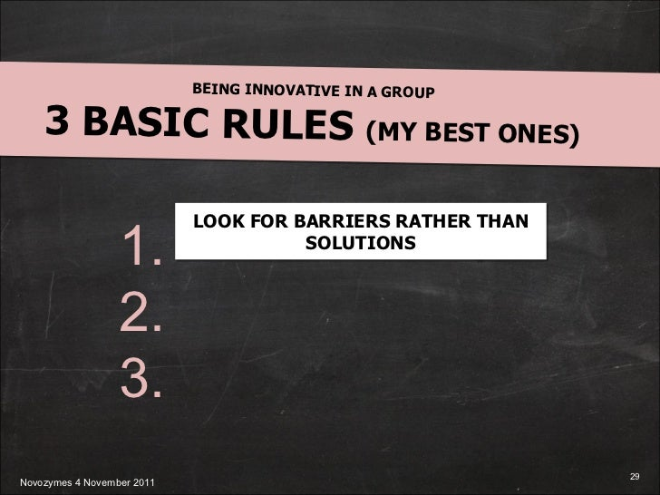BEING INNOVATIVE IN A GROUP 3 BASIC RULES  (MY BEST ONES) 1. 2. 3. LOOK FOR BARRIERS RATHER THAN SOLUTIONS