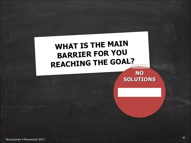 WHAT IS THE MAIN BARRIER FOR YOU REACHING THE GOAL? NO SOLUTIONS