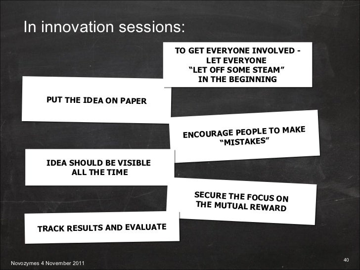"""PUT THE IDEA ON PAPER ENCOURAGE PEOPLE TO MAKE """"MISTAKES"""" IDEA SHOULD BE VISIBLE  ALL THE TIME SECURE THE FOCUS ON THE MUT..."""