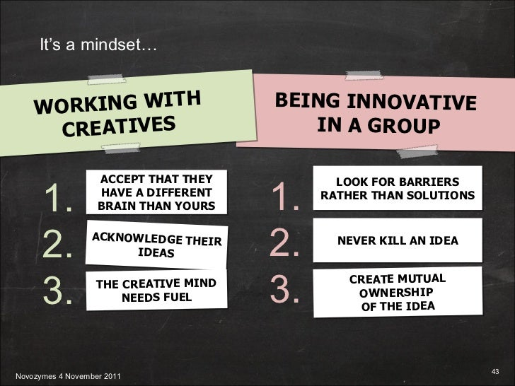 1. 2. 3. LOOK FOR BARRIERS RATHER THAN SOLUTIONS NEVER KILL AN IDEA CREATE MUTUAL OWNERSHIP  OF THE IDEA BEING INNOVATIVE ...